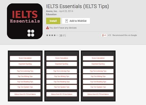 ۴. اپلیکیشن رایگان IELTS Essentials IELTS Tips