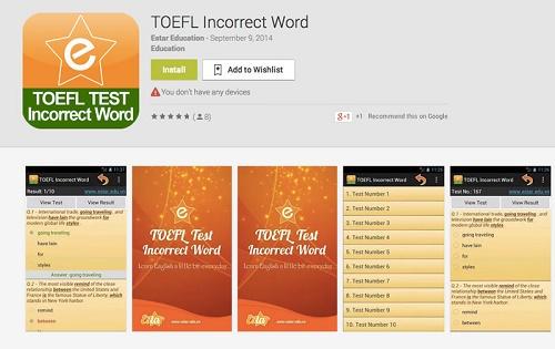 دانلود نرم افزار TOEFL Test Incorrect Words