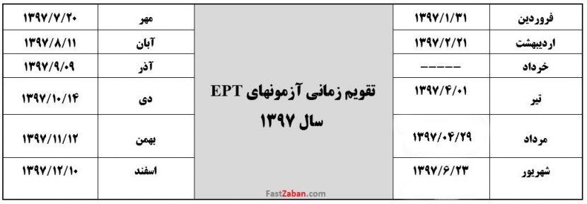 تقویم برگزاری آزمون EPT در سال ۹۷